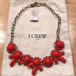 NWT J. Crew Factory orange bead floral necklace